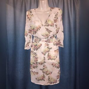 Daniel Rainn Sheer Tropical Printed Dress